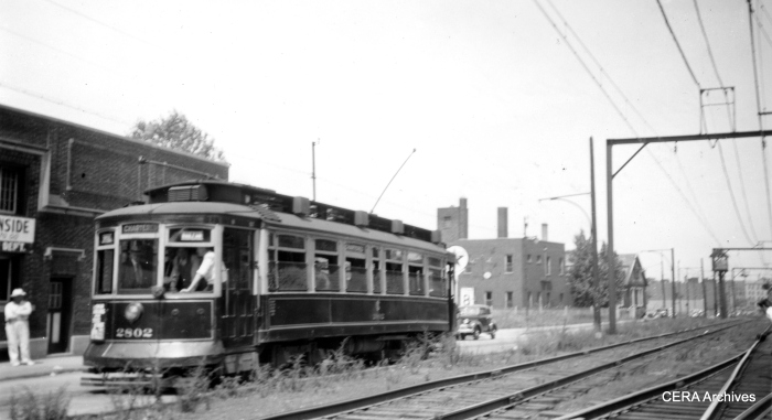"City car 2802 on a ""Railfan Special."" (R. J. Anderson Photo - CERA Archives)"