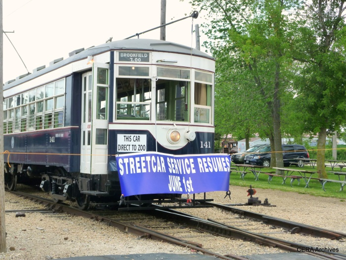 The newly restored Chicago & West Towns car 141 at its dedication ceremony at IRM on June 1, 2014. (Diana Koester Photo - CERA Archives)