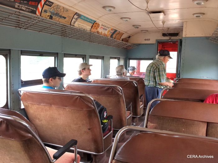 The interior of CA&E 460. MCERA Richard Carlson is shown standing. (Diana Koester Photo)