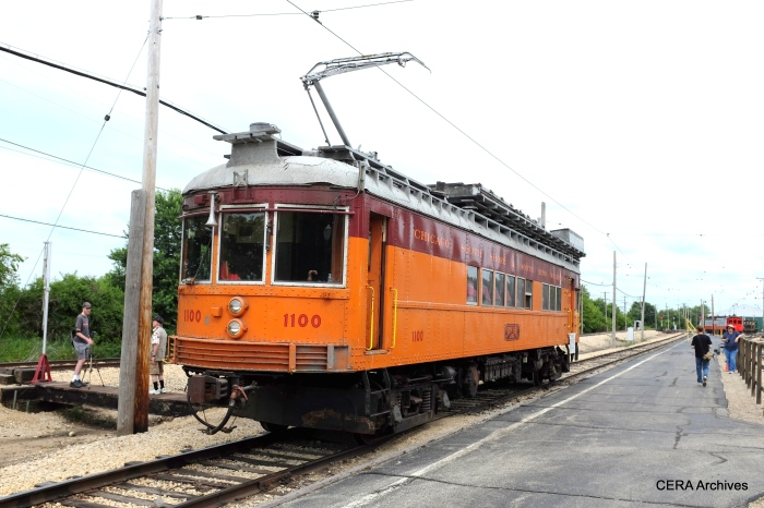 """According to Don's Rail Photos, """"1100 is the ultimate line car. It was built by St. Louis Car in 1926 as combine 376 for the Indiana Service Corp. It became Indiana RR 376 in 1930 and was rebuilt with an RPO compartment in 1935. After abandonment of the IRR, this car, along with 375 and 377 came to the South Shore. The other 2 cars were built into baggage trailers, but the 376 waited until 1947 to be rebuilt into the 1100."""" (David Sadowski Photo)"""