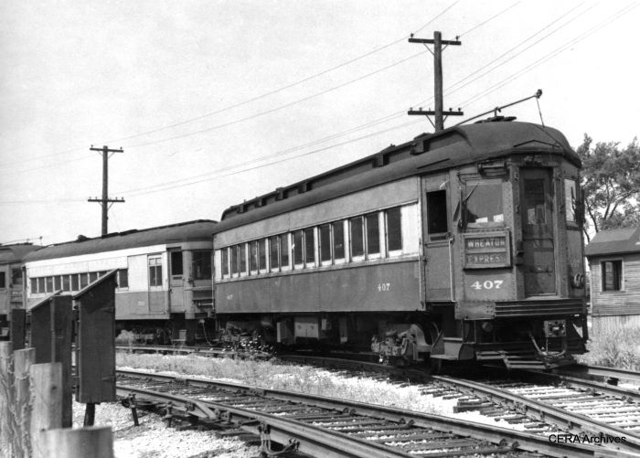 A 1956 photo of a CA&E train similar to the type featured on our Railroad Record Club Vol. 1 audio CD. (R. F. Munroe Photo - CERA Archives)