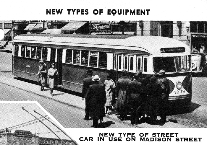 Chicago's first PCCs, shown on the 20-Madison route in 1937. (CERA Archives)