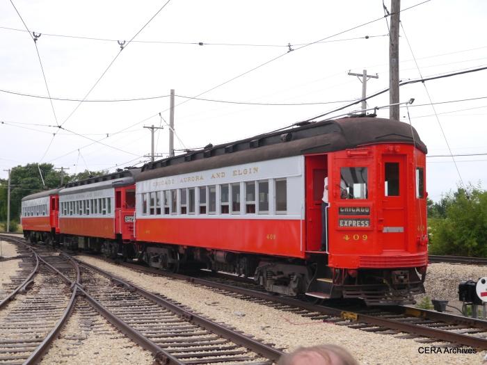 The three-car train of CA&E steel cars. (David Sadowski Photo)