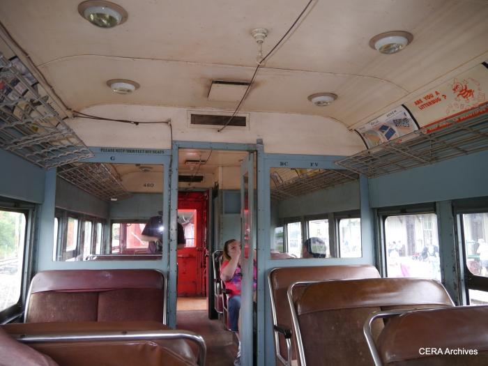 The interior of CA&E car 460. (David Sadowski Photo)