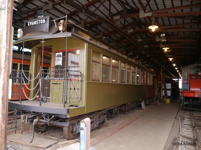 Chicago Rapid Transit car 1024 is undergoing restoration, going back to its original number 24. (David Sadowski Photo)