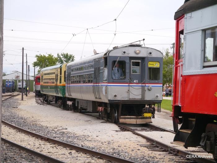 A two-car train of Chicago Transit Authority single car units follows the CA&E steels. (David Sadowski Photo)
