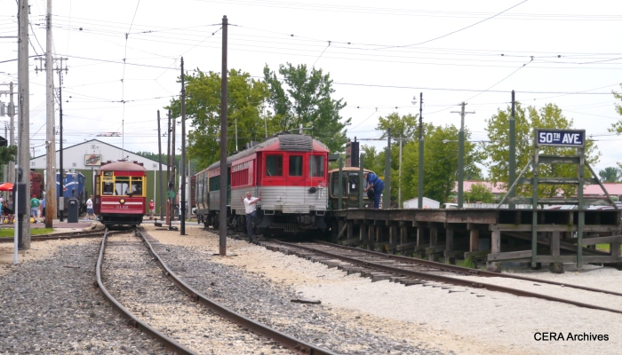CSL 3142 is on the Trolley Loop, while a two-car train of North Shore Line cars is berthed at the 50th Avenue station. (David Sadowski Photo)