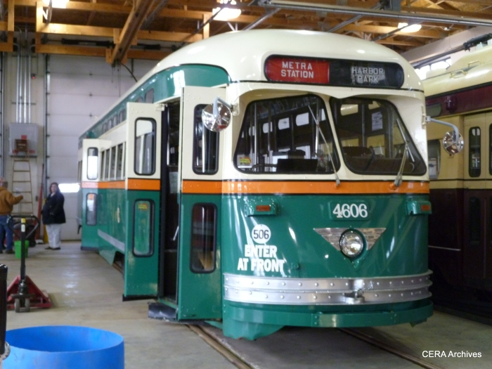 Kenosha streetcar 4606 is painted in Surface Lines colors, as a tribute to Chicago's PCCs. (Diana Koester Photo - CERA Archives)