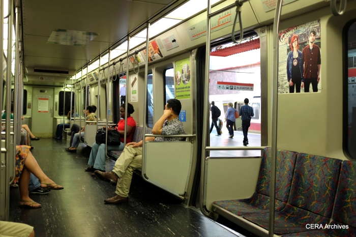 Inside a Red Line car.