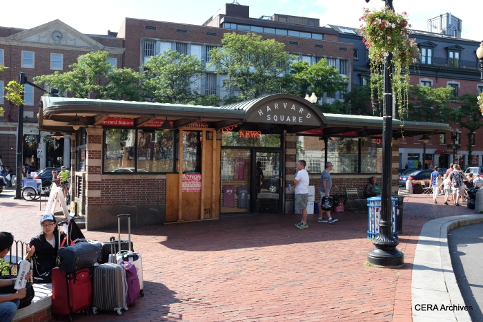 "The classic Harvard Square ""T"" station subway entrance lives on as a magazine stand. The current subway entrance is nearby."