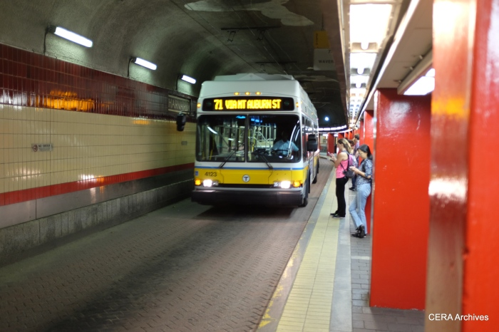 A Route 71 trolley coach in the Harvard Square bus tunnel.