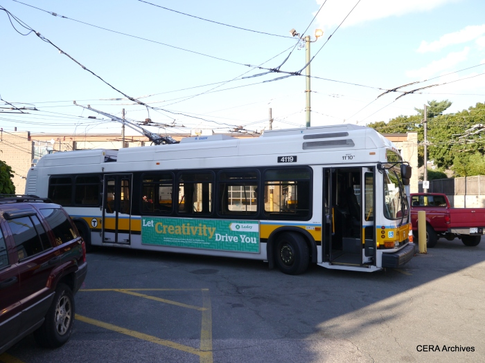 One of MBTA's trackless trolleys at the ir garage along Mass Avenue.