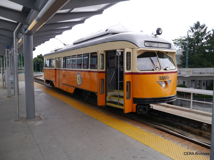 PCC 3260 at Ashmont. Although none are visible in this photo, these cars actually carry lots of passengers.