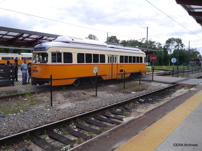 "The air conditioned PCCs really look nice in classic orange and white.  With their sealed windows, they remind me of Boston's ""picture window"" PCCs, which were cars 3272-3321, all now retired."