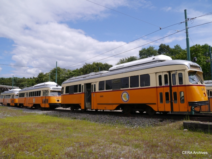 PCCs at Mattapan awaiting their turn in service. PCCs have been in continuous service in Boston for nearly 75 years.