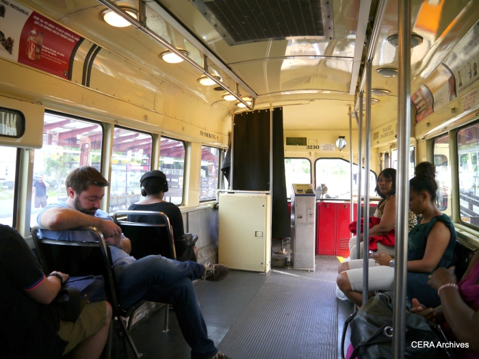 "A PCC interior on the Ashmont-Mattapan ""high speed trolley."""