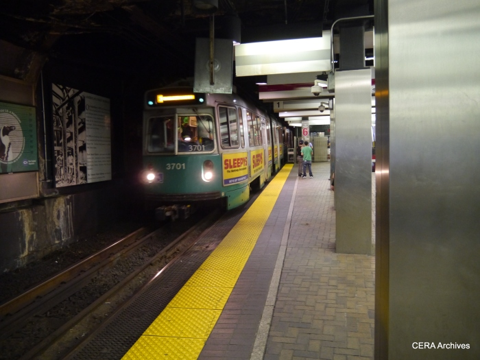 A Type 7 car in the Green Line subway.