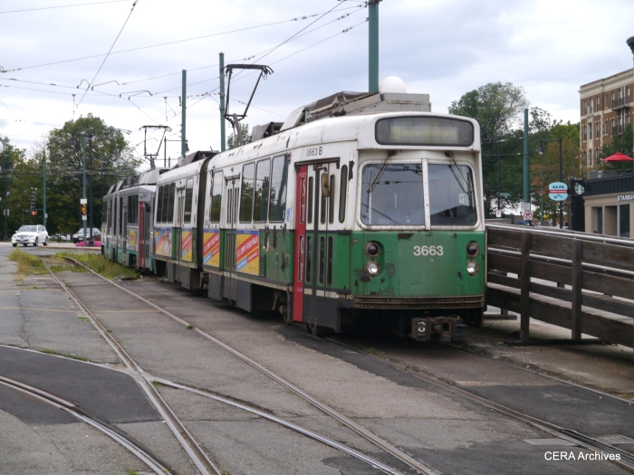 """A two-car rain at the end of MBTA's Green Line """"C"""" route at Cleveland Circle."""