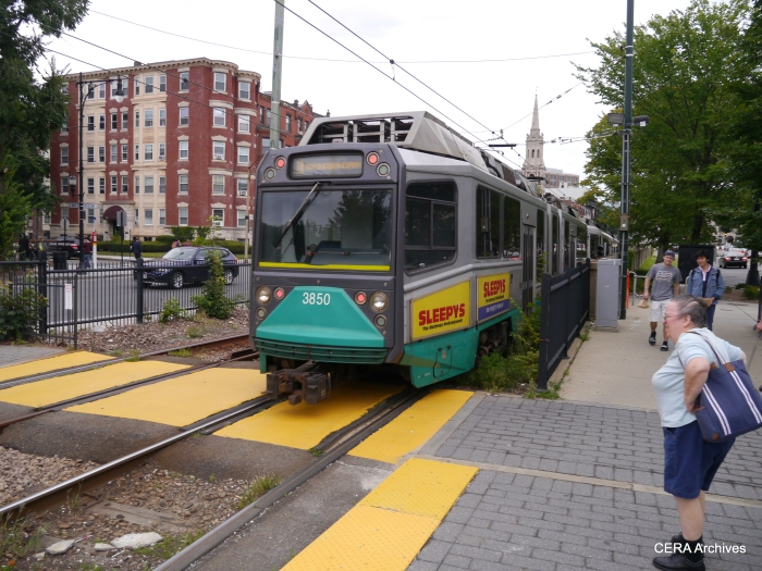 "Car 3850 is one of the MBTA's low-floor ""Type 8s,"" delivered between 1999 and 2008."