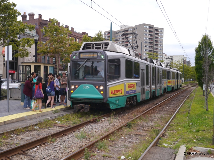 "Bredas at Coolidge Corner on the MBTA Green Line ""C"" branch."