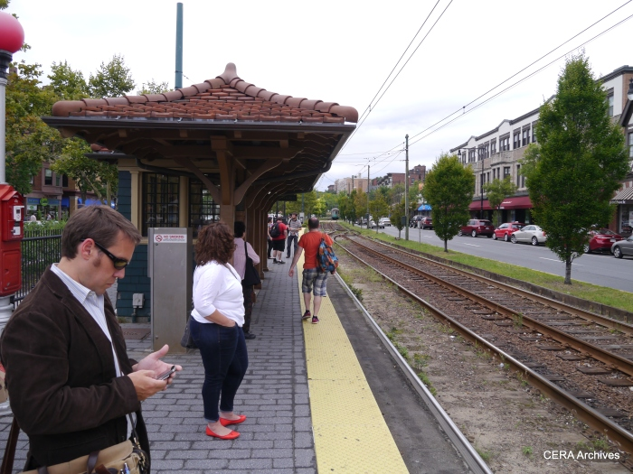 The classic trolley shelter at Coolidge Corner.