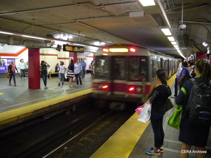 An Alewife-bound Red Line train at Park Street.