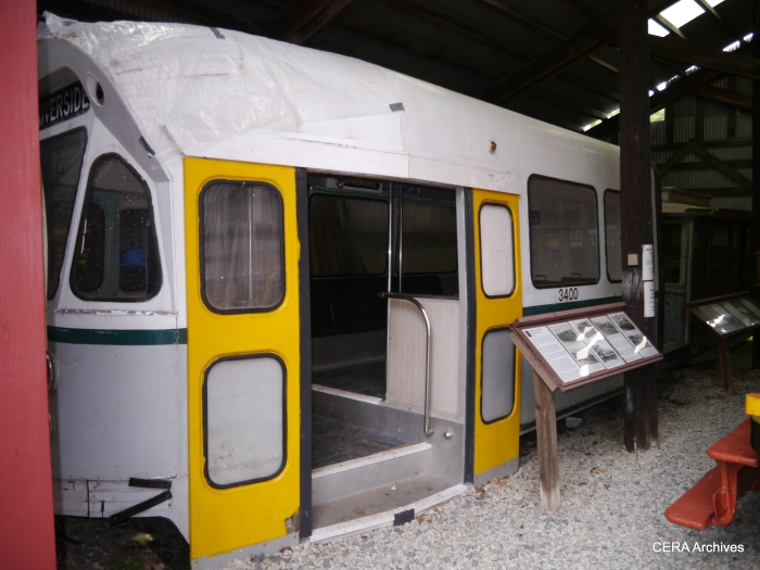 A fuller-length view of the same mockup. Instead of developing this car, MBTA and MUNI collaborated on the design of the Standard Light Rail Vehicle in the early 1970s.