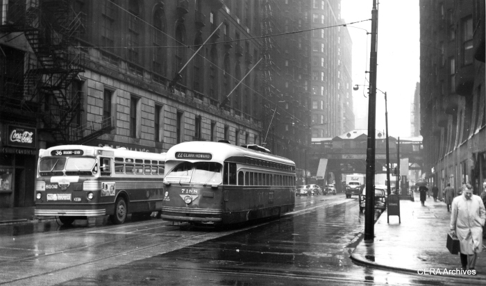 CTA PCC 7188, northbound on Dearborn at Jackson in April 1957, passes bus 8102. (Richard S. Short photo, CERA Archives)