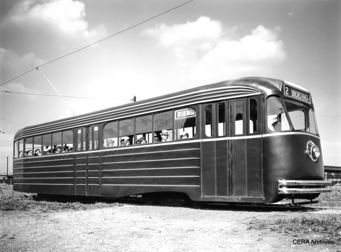 The experimental PCC Model B on display at Chicago's Navy Pier in August 1934. (Pullman Standard photo, courtessy of John Bromley)