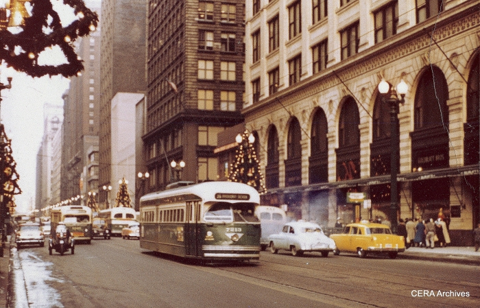Chicago PCC 7213 on State Street in the early 1950s. This car would end up being the last Chicago streetcar in 1958. (CERA Archives)