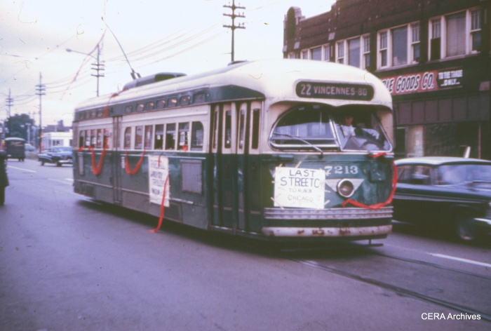 The last Chicago streetcar at 81st and Halsted in the early morning hours of June 21, 1958. (Bill Hoffman Photo - CERA Archives)