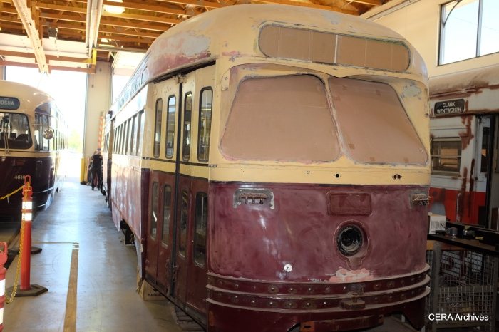 This trolley will eventually be restored and painted as the San Francisco tribute car.