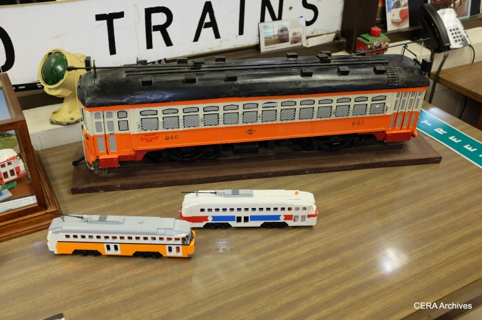 Model trains on display at the shops.