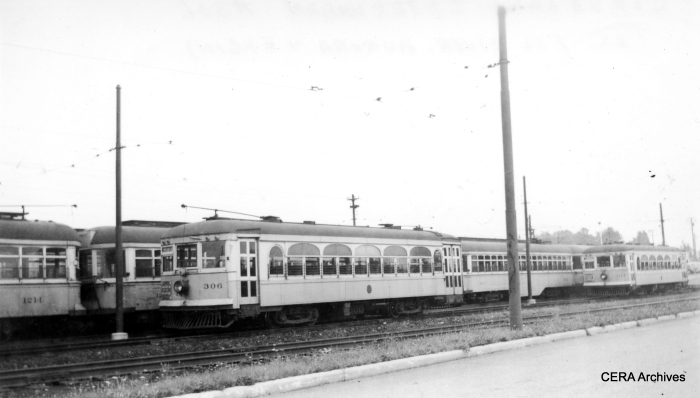 ex-AE&FRE 306 and 304 in service on the Cleveland Rapid. The latter car now resides at the Fox River Trolley Museum in South Elgin. 306 is at the Illinois Railway Museum. (CERA Archives)