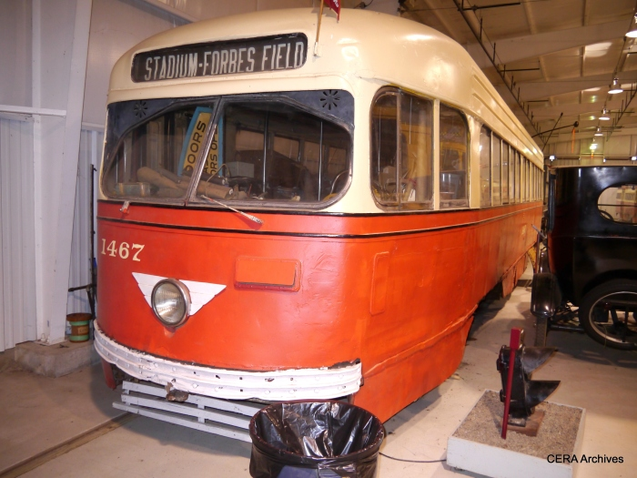 Pittsburgh Railways PCC 1467, built in 1941 by St. Louis Car Company, is preserved at the Pennsylvania Trolley Museum in Washington, PA.