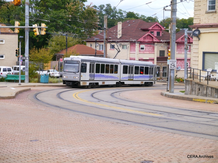 PAT 4318 outbound on Broadway Ave. at Hampshire in the Beechview neighborhood on October 5, 2014.