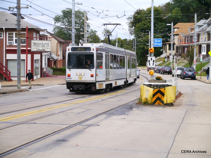 PAT 4204 outbound on Broadway Ave. at Shiras in the Beechview neighborhood on October 5, 2014.