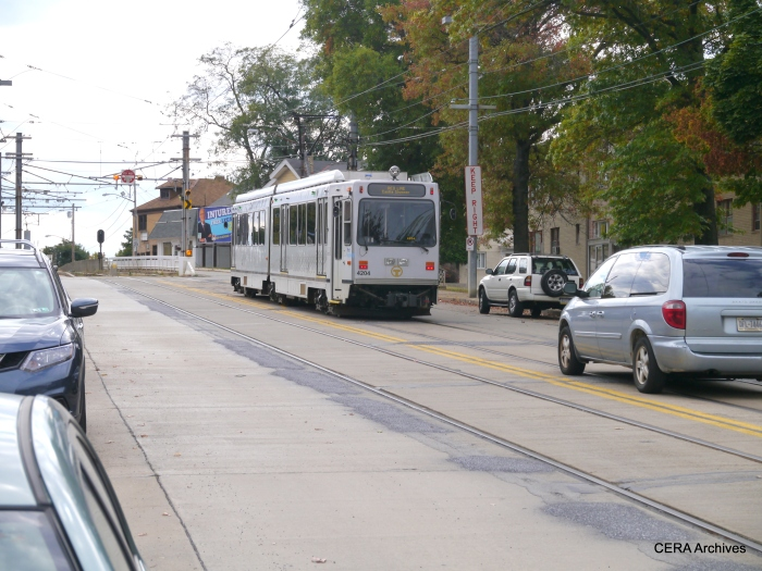 PAT 4204 outbound on Broadway Ave. in Beechview, preparing to enter private right-of-way on October 5, 2014.