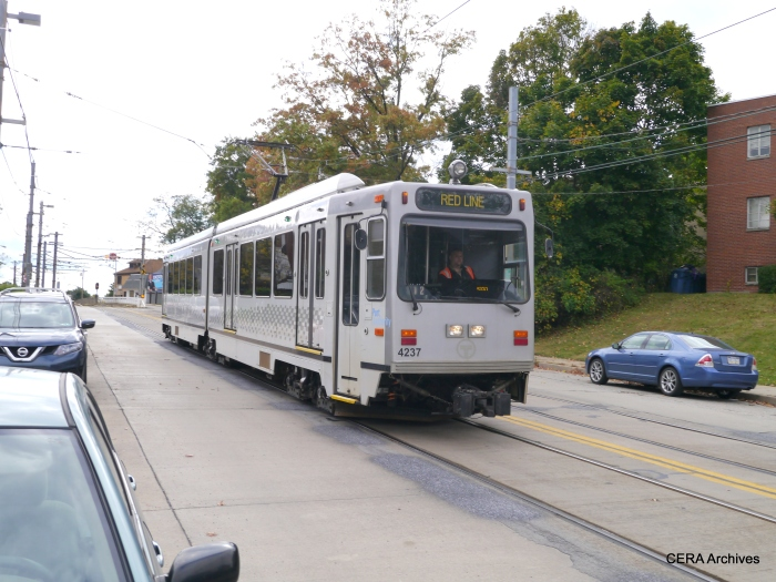 PAT 4237 inbound on Broadway Ave. at Shiras in the Beechview neighborhood on October 5, 2014.