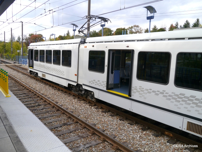 Not sure why the doors were opened on both sides of car 4225, shown here at the Library station on October 5, 2014.