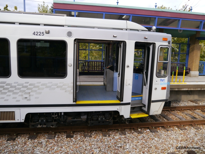 An unusual view of car 4225, at the Library station on October 5, 2014.