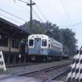 A CTA single car unit heads south at the old Isabella station, just south of the Linden Avenue terminal in the 1960s. (CERA Archives)