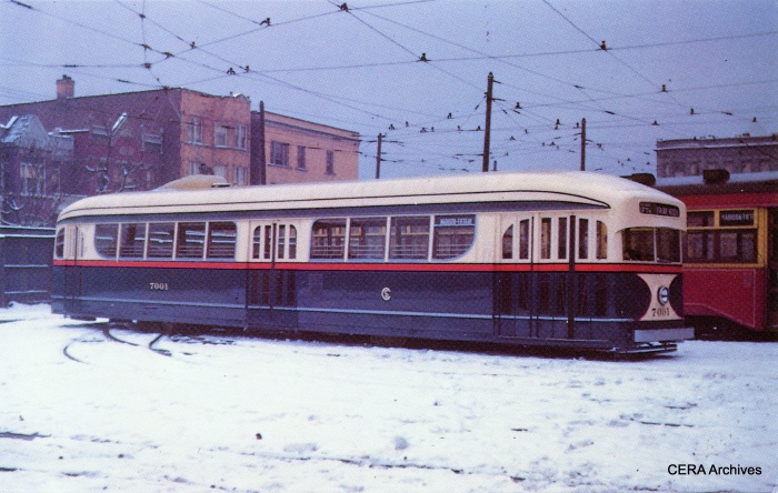 CSL experimental pre-PCC 7001, as it looked in 1941 after having been repainted to match the 1936 PCCs, (CERA Archives)