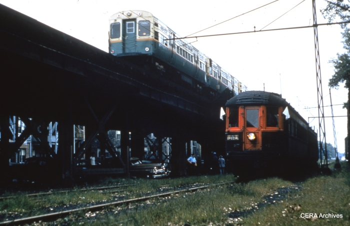 A North Shore Line fantrip train at Buena Yard in the late 1950s. (Ken Spengler Photo - CERA Archives)