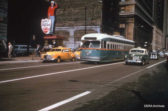CTA PCC 7143 heads south on Clark Street downtown in the early 1950s. (CERA Archives)