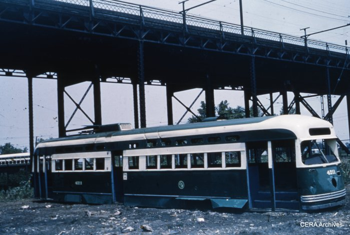 The scrapped body shell of Pullman-built PCC 4211 in St. Louis circa 1954. (CERA Archives)