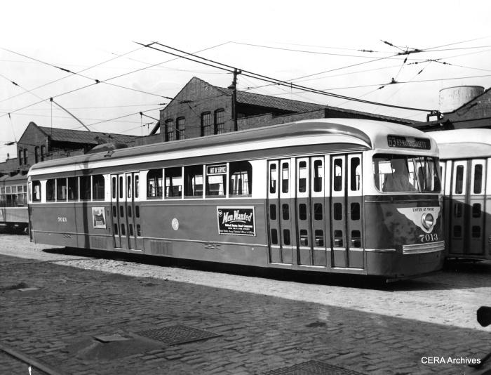 CTA Pre-war PCC 7013, retrofitted for one-man operation. (CERA Archives)