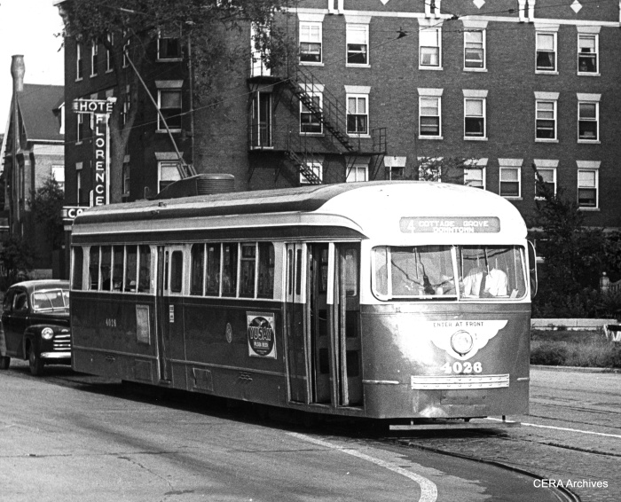 CTA Pre-war PCC 4026 near the Hotel Florence in the Pullman neighborhood in the early 1950s. retrofitted for one-man operation. (CERA Archives)