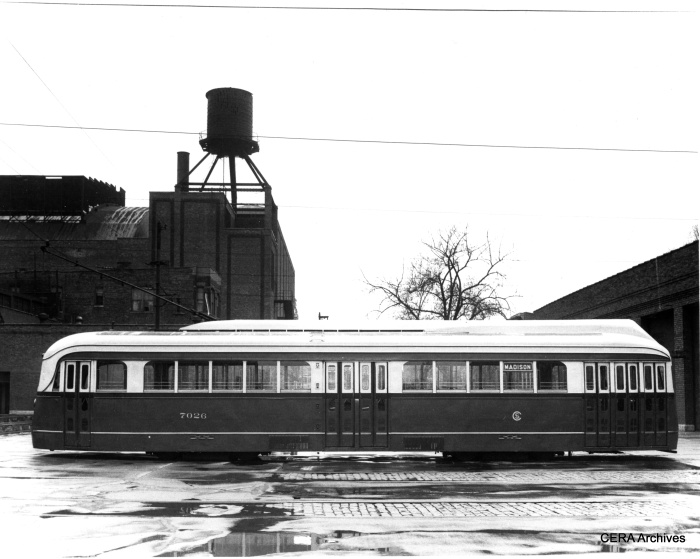 CSL PCC 7026, outfitted with experimental roof-mounted forced-air ventilation equipment, similar to that used in Boston. (CERA Archives)