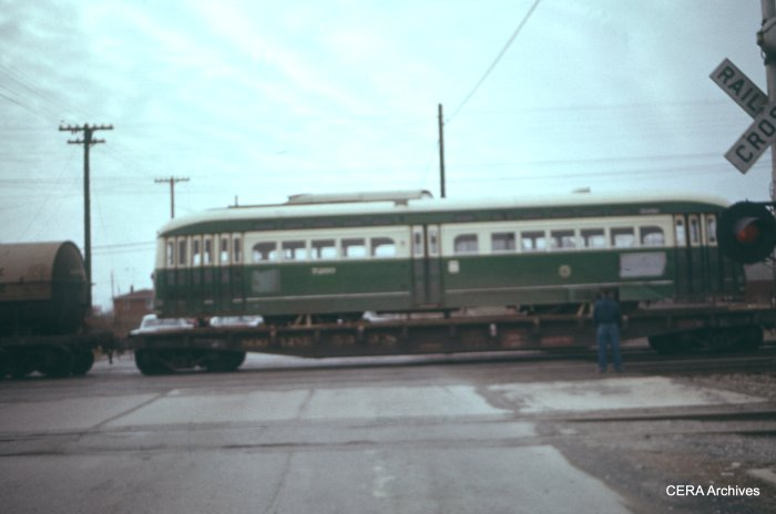 CTA PCC (#72xx) loaded on a flatcar in February 1957, for its trip down to St. Louis to be stripped for parts used in building rapid transit cars. (CERA Archives)